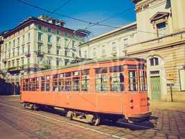 retro look vintage tram, milan