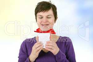 Woman with gift package