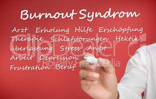 Hand writing different words about burnout syndrome in german