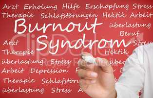 Hand writing different german words about burnout syndrome