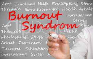 Hand writing german words about burnout syndrome