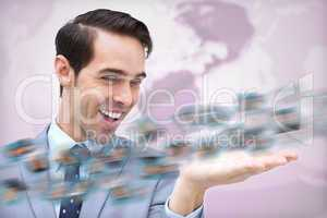 Cheerful businessman admiring a picture whirl