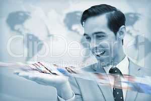 Delighted businessman looking at a picture stream