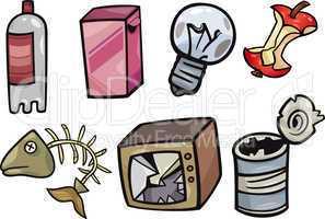 garbage objects cartoon illustration set