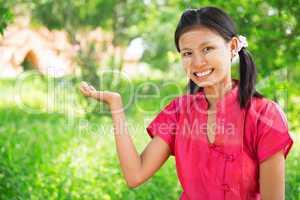 Myanmar girl showing empty palm