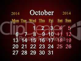 calendar for the october of 2014