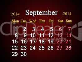 calendar for the september of 2014