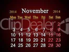 calendar for the november of 2014