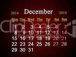 calendar for the december of 2014