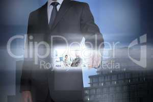 Stylish businessman using digital interface