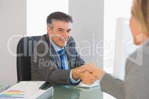 Cheerful businessman shaking the hand of a interviewee