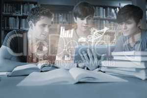 Serious young men studying medicine together with futuristic int