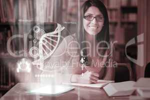 Cheerful mature student studying medicine on digital interface