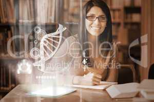 Happy mature student studying medicine on digital interface