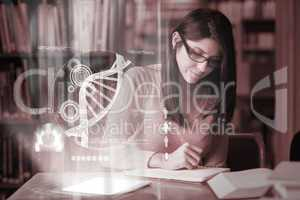Concentrated mature student studying medicine on digital interfa