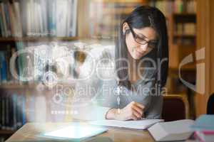 Serious mature student studying international trade on digital i