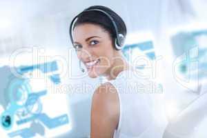 Pretty call center employee using futuristic holographic interfa