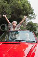 Smiling mature couple having a ride together
