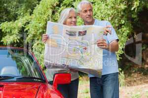 Smiling mature couple reading map looking for direction