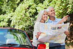 Cheerful mature couple reading map looking for direction