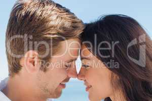 Close up view of romantic couple