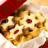 Christmas cookies star in red decoration box
