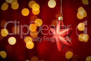 Hanging Christmas Ornament star lights background