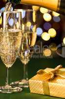Glasses of champagne and present special occasion