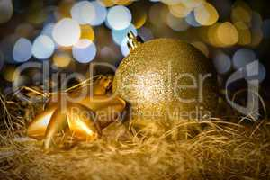 Gold christmas bauble and star decoration