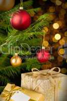 Christmas decoration tree, baubles and gifts