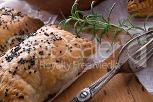 puff pastry with spinach filling and black cumin