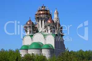 construction   cathedral with  domes of the orthodox church.  ba