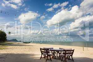 restaurant sur les tropicales plage