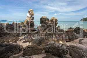 rocky tropical coastline