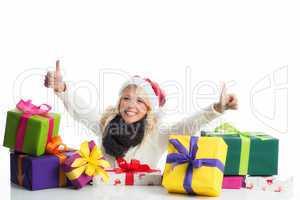 blonde weihnachtsfrau mit geschenken