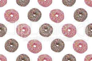 seamless pattern ofpink and chocolate glazed donuts
