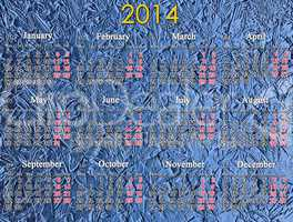 calendar for 2014 year on the blue background