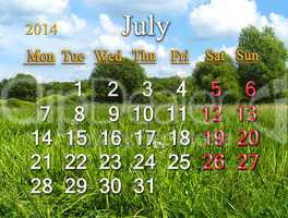 calendar for the july of 2014 on the background of summer