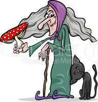 witch with mushroom cartoon illustration