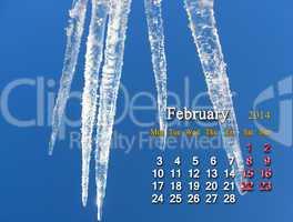 calendar for the fabruary of 2014