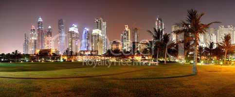 panorama of night illumination of the luxury hotel, dubai, uae
