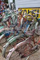 row of bicycles in a cycle rack
