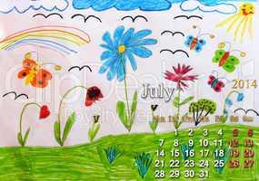 calendar for july 2014 year