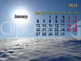 calendar for the january of 2014  with landscape