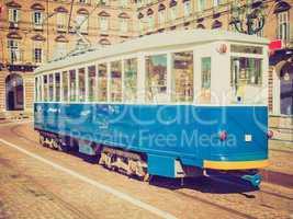retro look old tram in turin