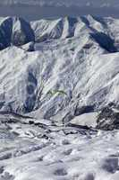speed riding in snow mountains