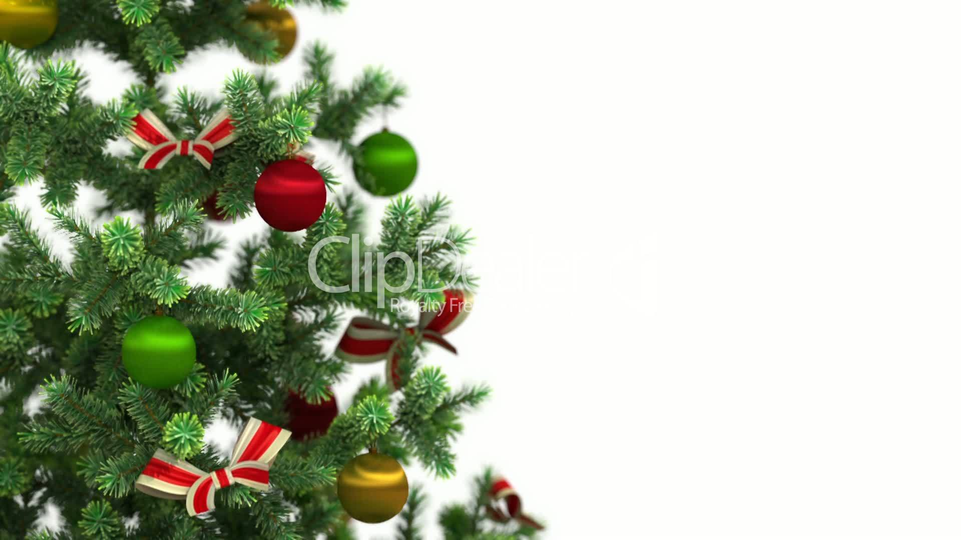 Beautiful Christmas Tree Close Up On White Background HD 1080 Royalty Free Video And Stock Footage