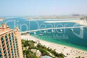 the view on jumeirah palm man-made island, dubai, uae