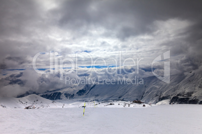 ski slope in bad weather
