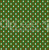 Grünes Geschenkpapier mit roten und weißen Tannenbäumen
